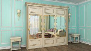 Шкаф купе с фрезеровкой и зеркальным панно Великий Новгород