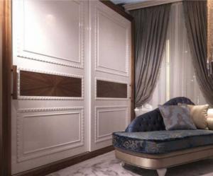Шкаф купе с эмитацией филенки и фигурной накладкой, ламинация, шпон, эмаль Великий Новгород