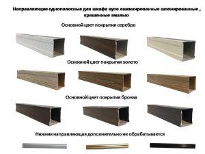 Направляющие однопосные для шкафа купе ламинированные, шпонированные, крашенные эмалью Великий Новгород